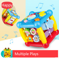 Hexahedral Multi function Cube Music Toy Piano Keys Beat Drum Alphabet Learning Monkey Sliding Game Baby Kid Educational Gift