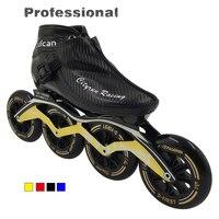 Профессиональный углеродного волокна Скорость скейт обувь взрослых/ребенок раса коньки Racing Advanced на роликах синий желтый Ботинки красного