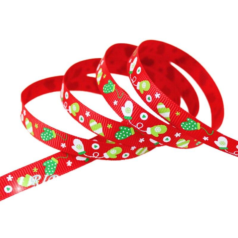 (5 ярдов/партия) мм 3/8 «(10 мм) Красный Рождество перчатки печатных grosgrain ленты атласная лента красный лента для рождественских подарков