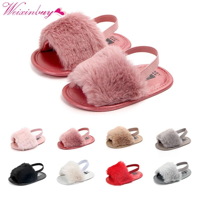Sandaler til piger Baby pige sko Fashion Faux Fur Skinny Baby Sko - Babysko