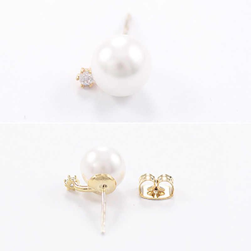Crystal Stud Earrings Double Side Pearl Earrings Women Gold Silver Rhinestone Zircon Beads Ear Jewelry Accessories Pendientes