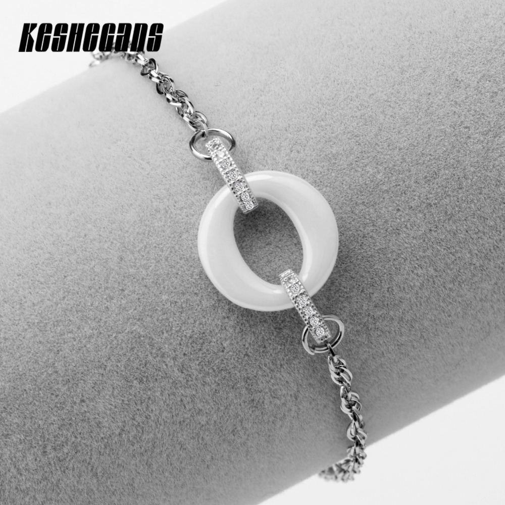 White Ceramic Round Circle Bracelet With Shining Crystal Elegant Jewelry For Women Girls Stainless Steel Chain 18cm Long Gifts elegant solid color multilayer embossed circle bracelet for women