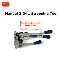 3-in-1 Manual Strapping Tool Sealer Tensioner Cutter, Efficent All in one Machine Banding for 1/2 Width Poly Strap