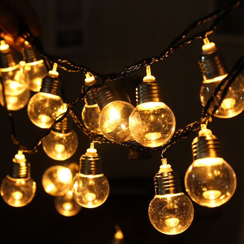 20 Bulbs String Lights Ball Shape Vintage Indoor Outdoor Lamp Decoration For Garden Backyard