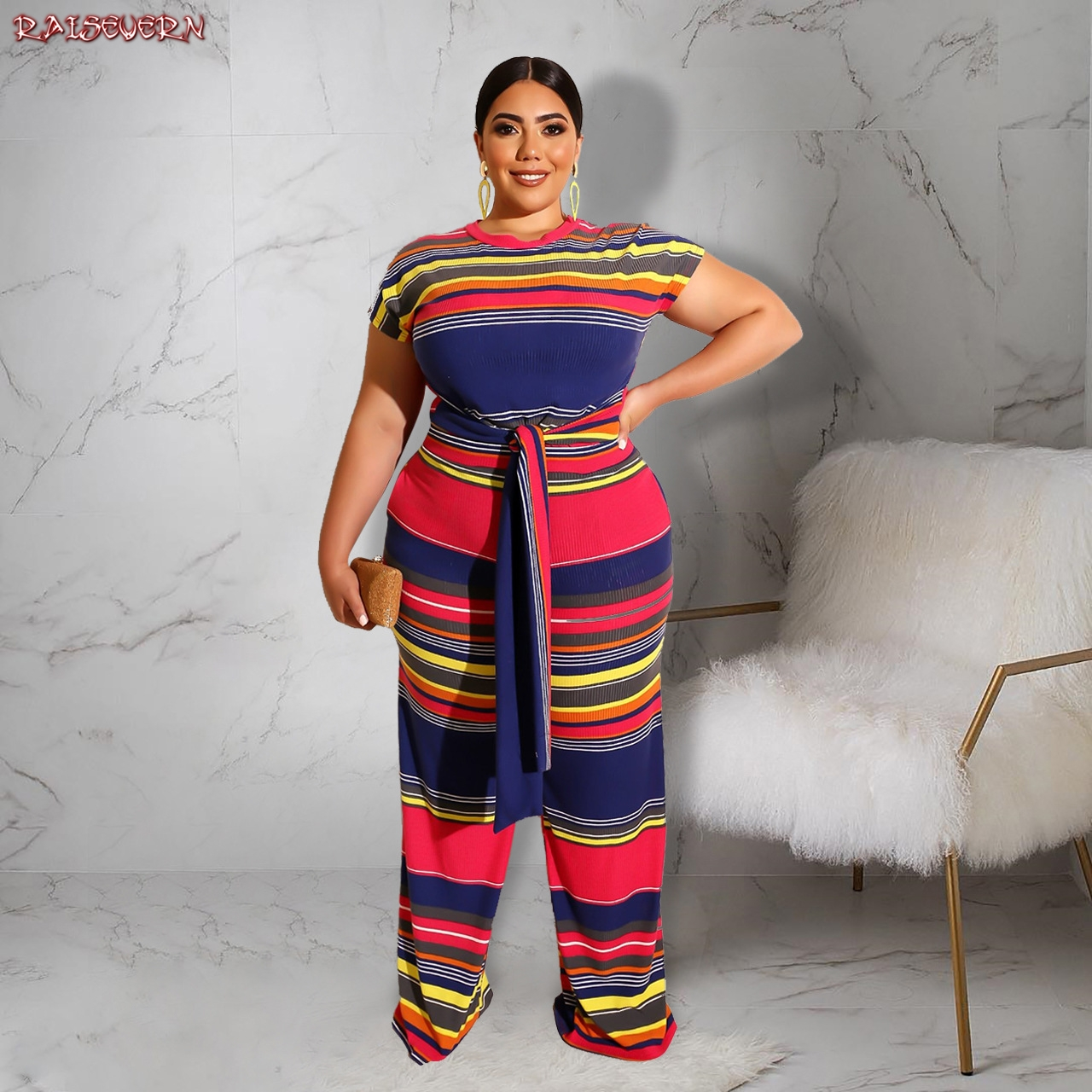RAISEVERN 2019 Women Plus Size Clothing Casual Black Wrap Patchwork Rompers Cool Waist Tie Holiday Wide Leg   Jumpsuits