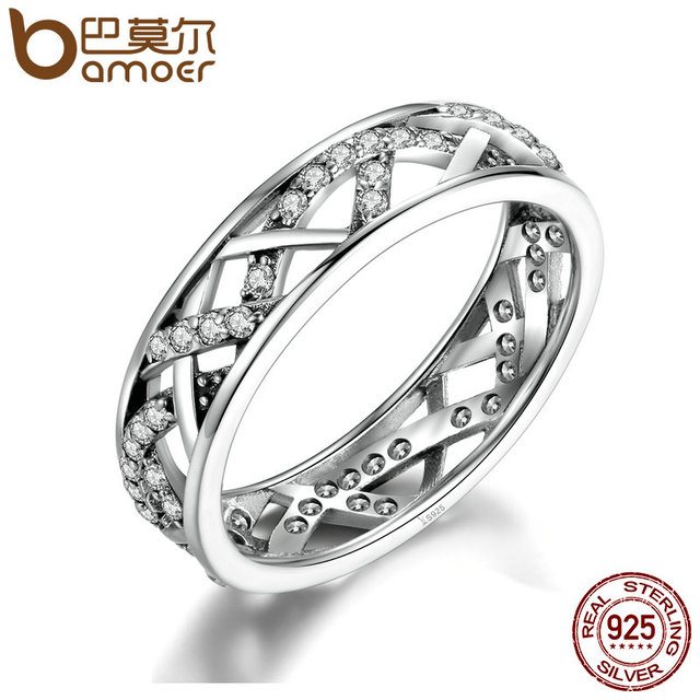 BAMOER Wedding 5mm Width 3 Size High Quality White Crystals 925 Sterling Silver