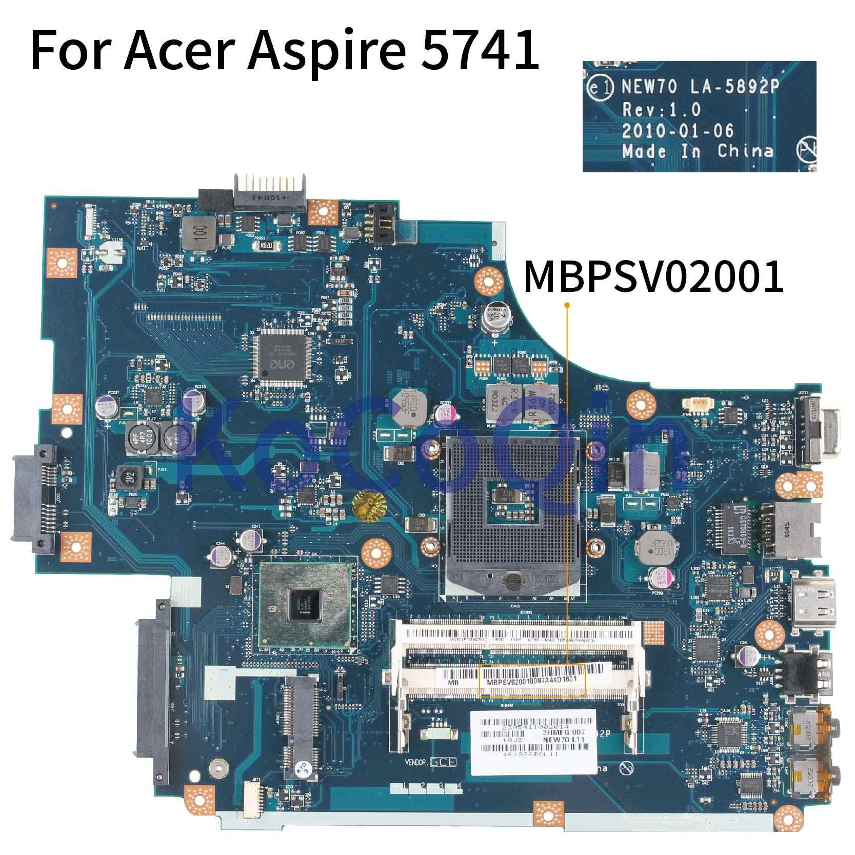 KoCoQin האם מחשב נייד עבור Acer Aspire 5741 5741ZG NV59C Mainboard MBPSV02001 NEW70 LA-5892P במקום LA-5891P LA-5893P