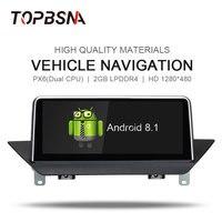 TOPBSNA Android 8,1 автомобильный DVD мультимедийный плеер для BMW X1 E84 2009 2015 с iDrive аудио на голову BT GPS навигационная система, стереомагнитола зеркало с