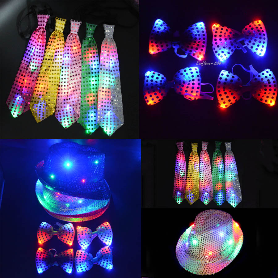 2018 LED Flashing Sequin Jazz Hat Cap Neck Bow Tie Woman Men Adult Performance Props Glow Party Christmas Navidad New Year