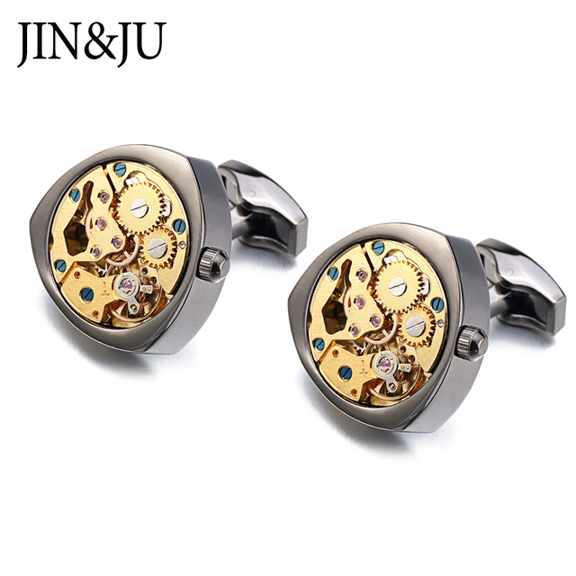 JIN&JU Hot Watch Movement Cufflinks Non-Functional Steampunk Gear Watch Mechanism Cuff Links For Mens Relojes Gemelos