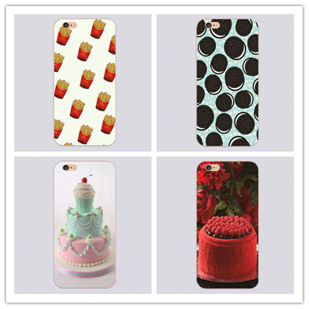Newest Oreo Pizza Sushi Fries Donuts Cake Ice cream Best friend plastic Clear cover phone case For iphone 4 4s 5 5c 5s 6 6s plus