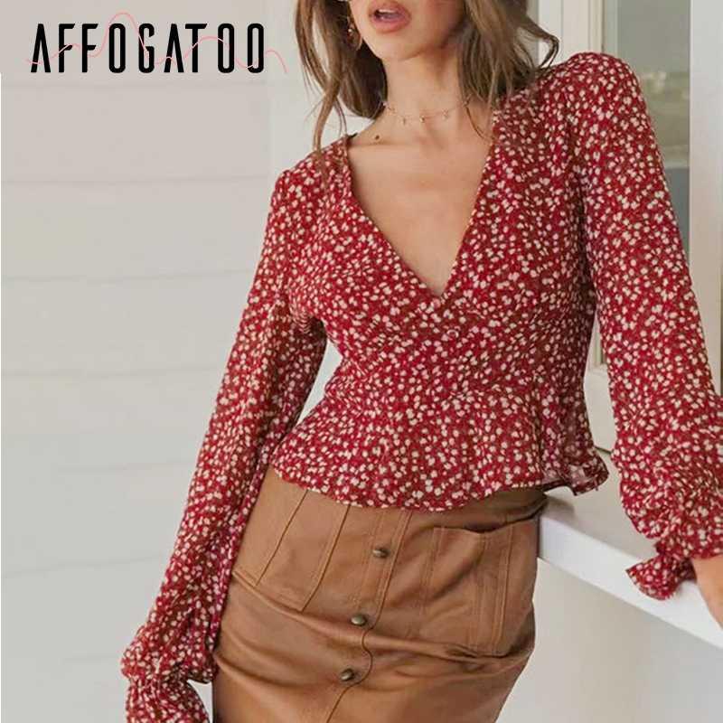 Affogatoo סקסי v צוואר boho הדפסת קיץ חולצה חולצה נשים אלגנטי בציר לפרוע שיפון אדום למעלה מקרית גבוהה מותן נקבה חולצה