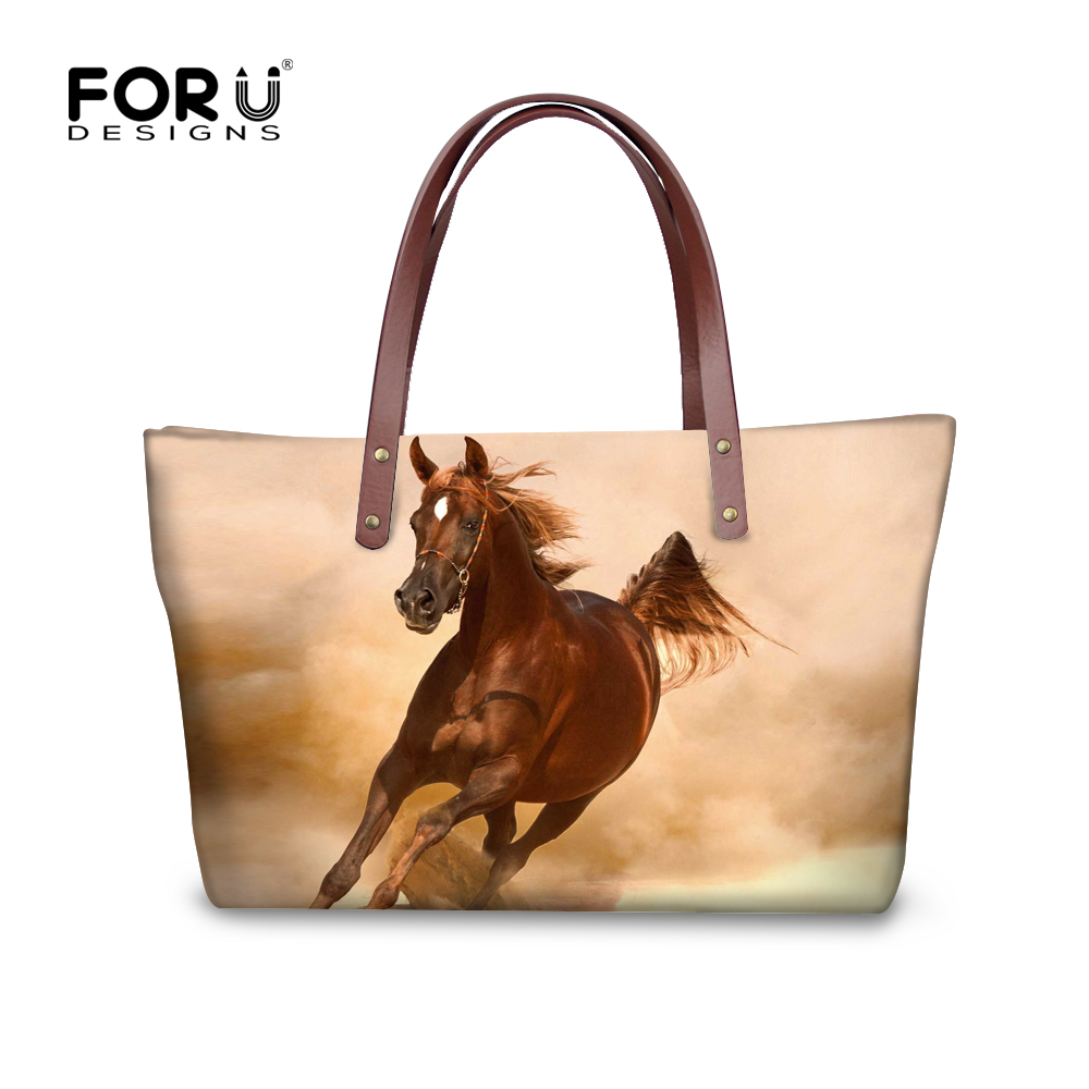 FORUDESIGNS Women Fashion Bag Horse Printing Tote Brands Female Handbag Large Shopping Purse for Girls Casual Shoulder Bags New fashion neoprene travel picnic food insulated lunch bag tote cooler bag handbag for women kids thermal bag lunchbox bag tote