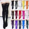 2016 moda mujeres Sexy gruesa tapa del cordón opacos del muslo medias altas 15 colores para navidad Y1