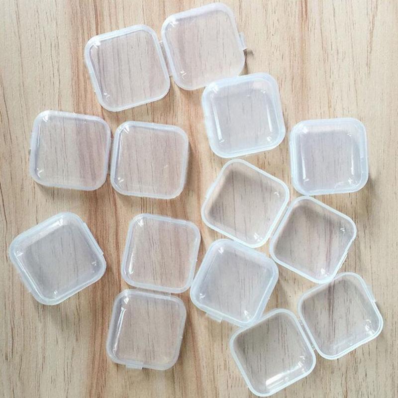 100PCS Empty Plastic Pp Clear Small Empty Square Box Jewelry Ear Plugs Container Nail Art Colorful Decor Diamond Storage Case