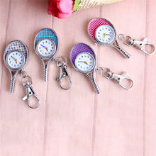 Creative Tennis Racket Quartz Fob Pocket Watch Fashion Keychain Pendant Necklace Chain Fob Watch Men Women's Clock Relogio(China)