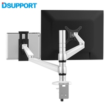 OA-8Z Height Adjustable Double Arm 27 inch Monitor Holder+ Double Arm Tablet PC Stands 360 Degree Rotatable computer desks 40 20 40cm 360 degrees rotation multipurpose movable laptop table anti slip height adjustable notebook computer desks