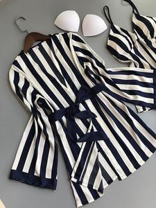 Image 4 - Frauen Pyjamas Set Satin Nachtwäsche 3 Stück Spaghetti Strap Streifen Parttern 2018 Sexy Dessous Seide Pijama Hause Kleidung Pyjama