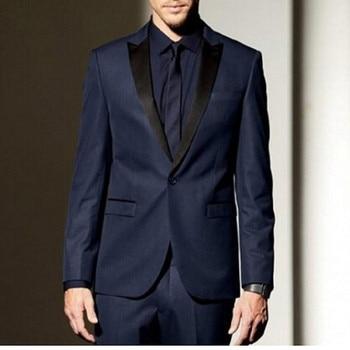 High Quality One Button Navy Blue Groom Tuxedos Groomsmen tuxedo jacket men Wedding Prom Suits Bridegroom (Jacket+Pants+Tie)