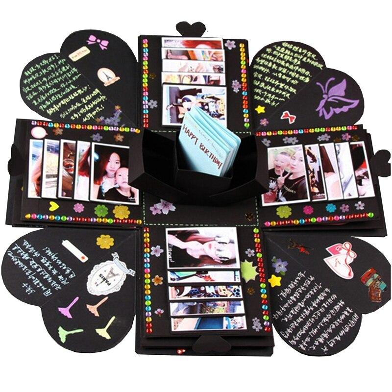 Sulalin diy explosão caixa de presente artesanal explosão caixa de presente presente de casamento amor feliz aniversário presente caixas álbum de fotos