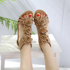 Image 2 - TIMETANG Gladiator Sandals Summer New Woman Fashion Platform Mid Heels Open Toe Wedge Sandals Soft Leather Sexy Casual Shoes