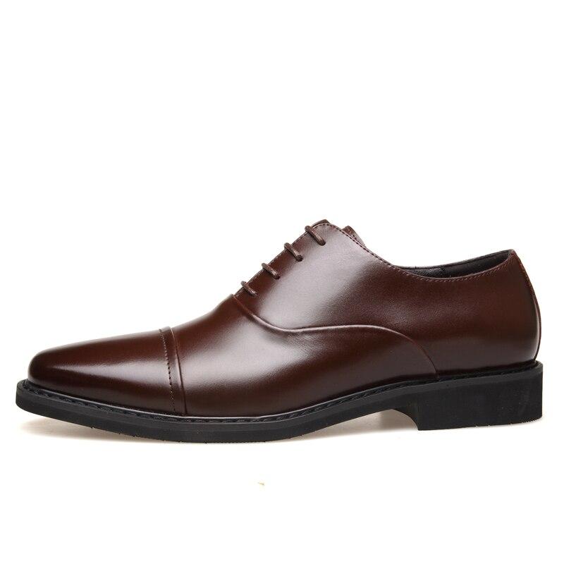 Preto Genuíno Couro Homens Para Superior Dos Vestido Muhuisen Jovens Moda Qualidade brown Black Negócios Sapatos Sapatas De Com wgZ8RqUH