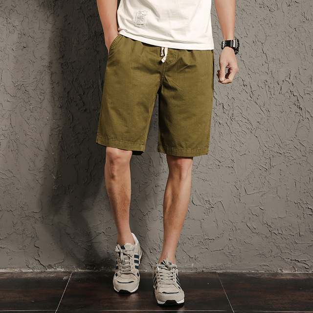 Men Summer Cotton Casual Shorts Pocket Straight Harem Breathable Trousers Plaid Army Green Blue Khaki Yellow Male Board Shorts
