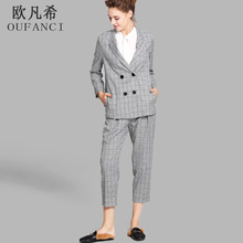 OUFANCI Autumn Winter 2017 Pant Suits Women Casual Office Business Suits Formal Work Wear Sets Uniform Styles Elegant Pant Suits