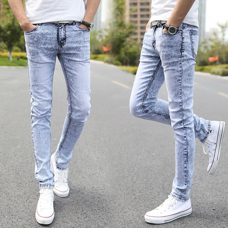 2019 New Men Wear White Jeans Slim Korean Tidal Tight Skynny Jeans