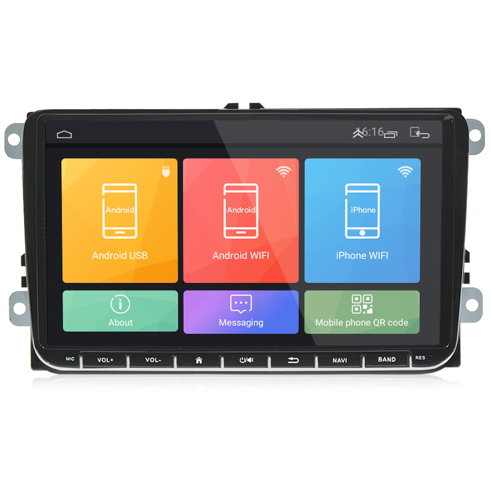 9'' GPS Navigation Car DVD Player for VW Android 6.0 FM AM Auto Radio Mirror Link Bluetooth Music Player support Canbus Camera