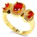 6.5 # Orange Spessartite Garnet, CZ SheCrown женщины Свадьба Создания Золото Серебро Кольцо 19 х 10 мм