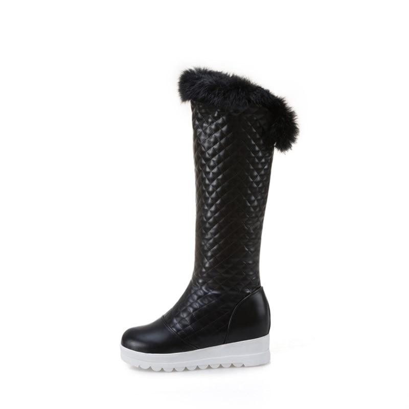 Black Rodilla Altura Punta white Mujer Moda Zapatos Egonery Nieve Alta Tamaño Gran Colores Redonda De Tres Aumento Nueva La Botas 2018 pink Invierno Rqapp4w