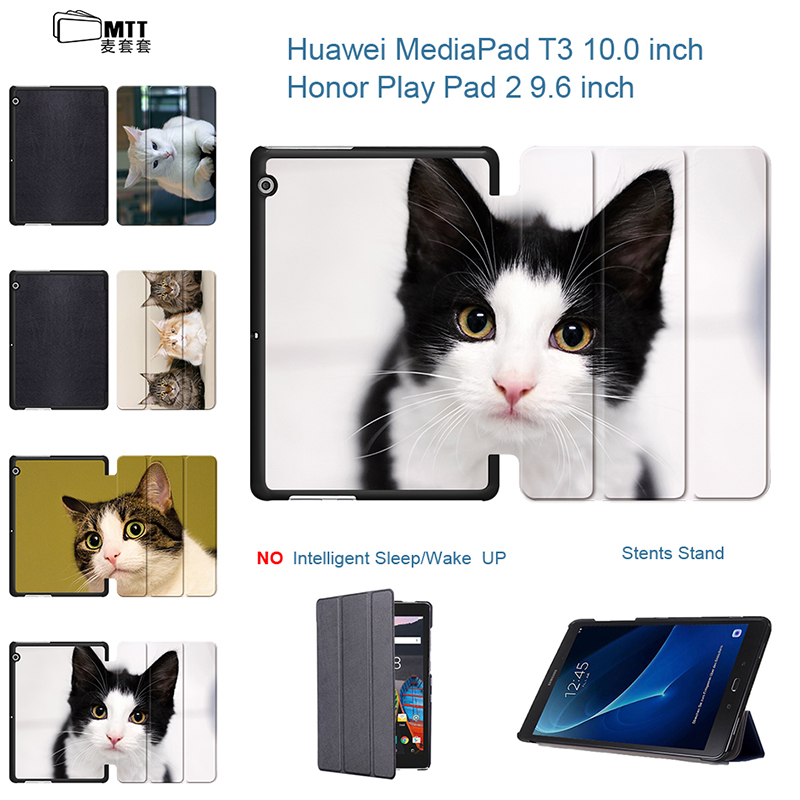 Cute Pet Cats MediaPad T3 9.6 PU Leather Case Cover Honor Play Pad 2 9.6'' Stand For Huawei T3 10 AGS-L09 AGS-L03 Tablet Funda folio slim cover case for huawei mediapad t3 7 0 bg2 w09 tablet for honor play pad 2 7 0 protective cover skin free gift
