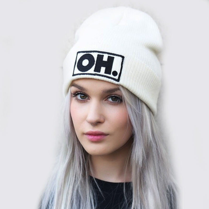 Autumn Winter OH. Letter Hip Hop Hats For Women Men Knitted Slouchy Beanie Skullies Chunky Baggy Warm Head Beanies Hat RX132 2017 new lace beanies hats for women skullies baggy cap autumn winter russia designer skullies