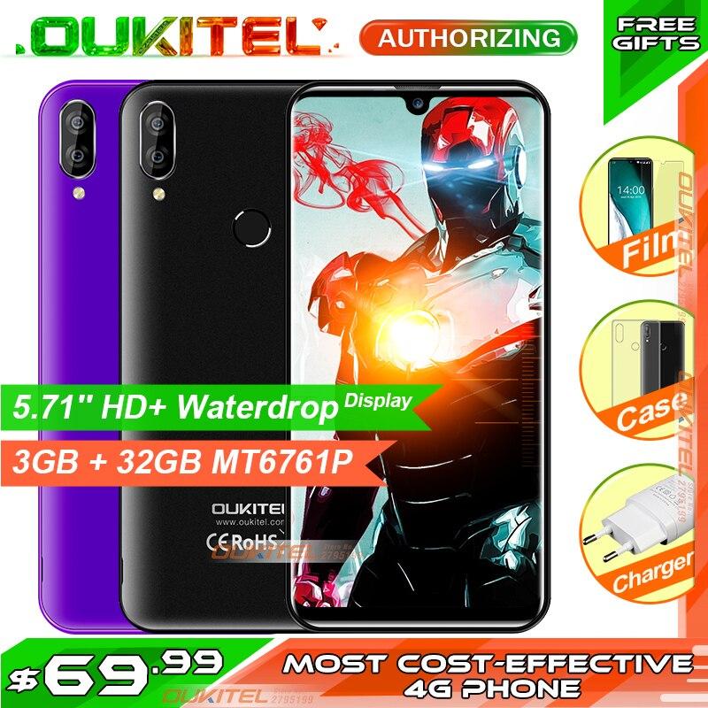 OUKITEL C16 PRO 5.71 ''HD + Waterdrop écran 4G Smartphone MT6761P Quad Core 3 GB 32 GB Android9.0 Pie Face ID téléphone portable 2600 mAh
