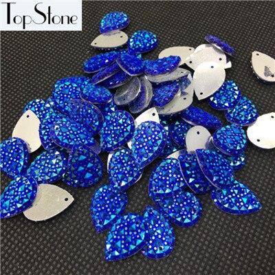 Каплевидные Пришивные бусины 100 шт 10x14 мм 13x18 мм цвета кристалл AB смолы Flatback пришивные стразы 2 отверстия для повседневного платья - Цвет: sapphire ab