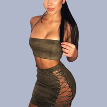 Halter Top Sexy Tops For Women Clubwear Ensemble Femme 2 Pieces Two Piece Bandage Set Short Tight Mini Skirts Zip Crop Top Back zip back lace insert peplum top