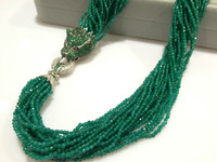 Green stone Chunky Necklace Multilayer Twist Necklace With Leopard Luxury Jewelry Fashion Trendy Free Shipping