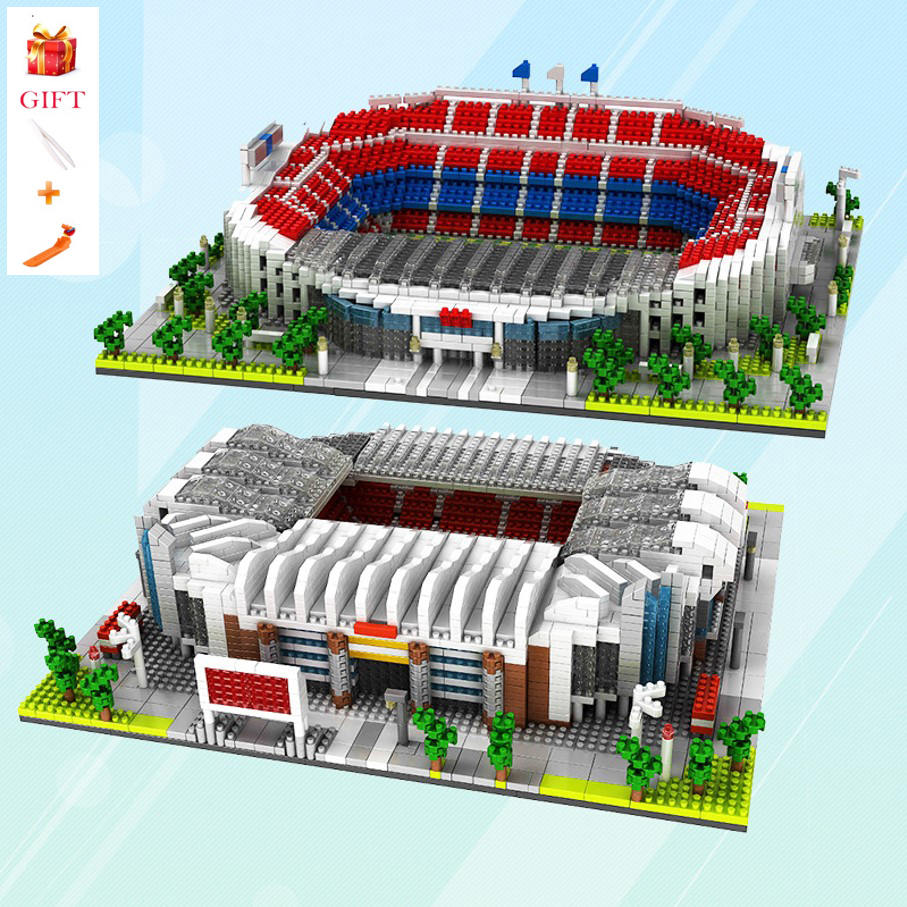 Architecture Block Old Trafford Football Field Toy Nou Camp Stadium Building Blocks Educational Bricks Gifts