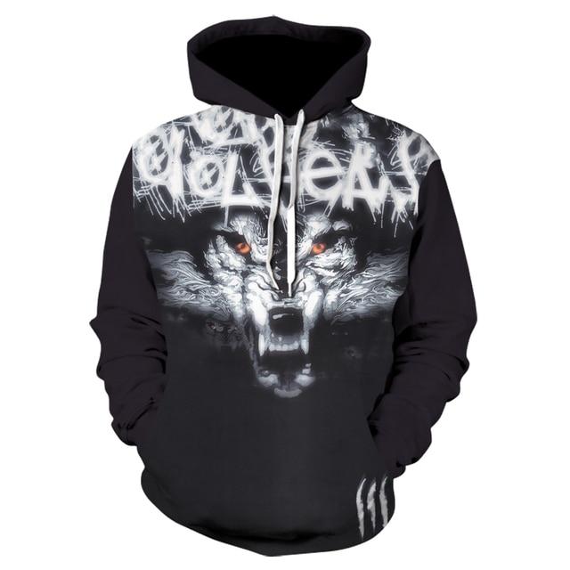 2228b0677baa Plus Size Wolf Hoodies 3d Print Animal Wolf Men's Hoody Sweatshirt  Alisister Hip Hop Unisex Pullover With Big Pockets Tops