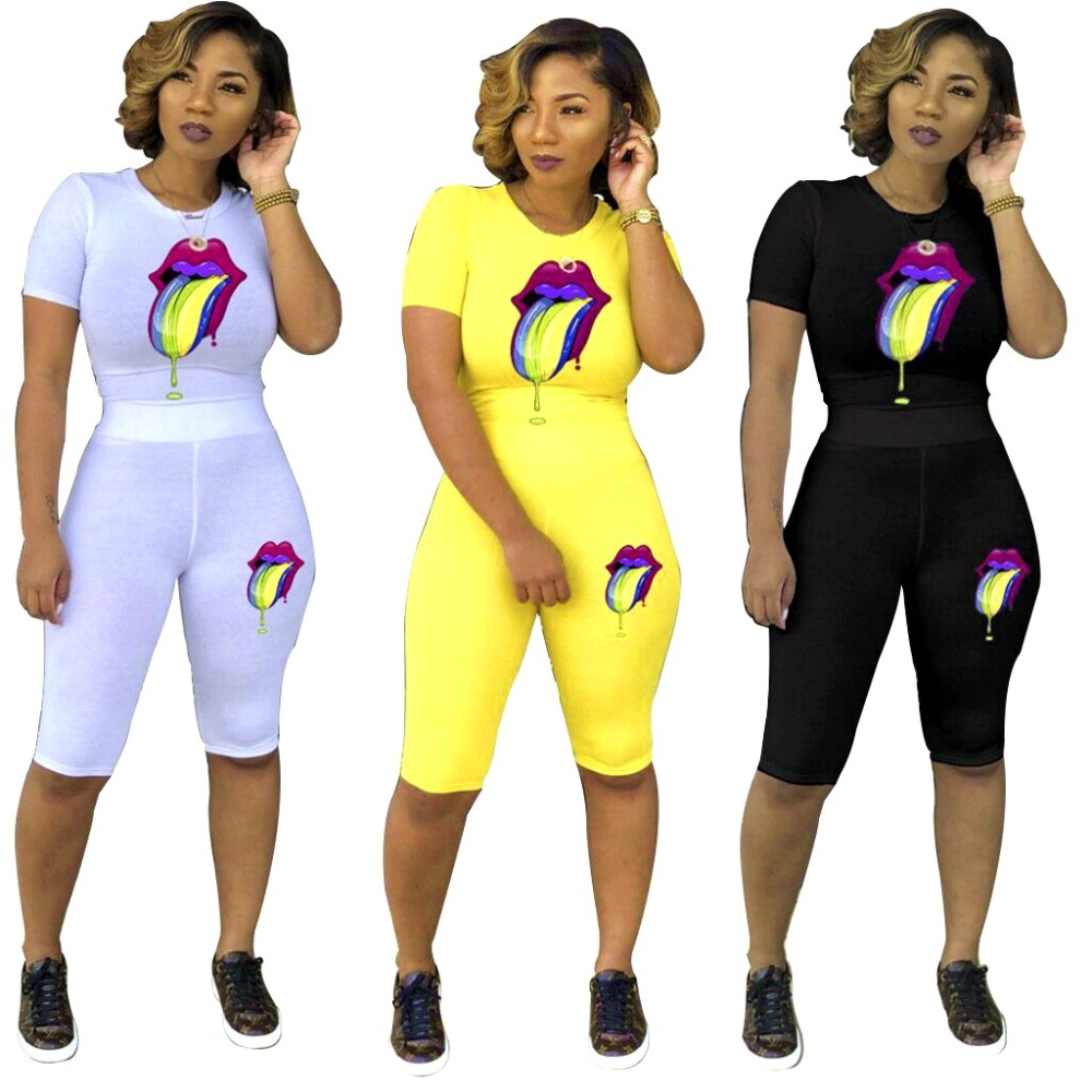 New Fashion Color Lips Women Set 2 Piece Outfits Short Sleeve T Shirts Skinny Pants Yellow White