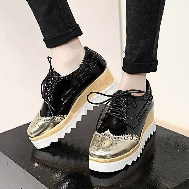 Women Harajuku Cartoon Lace-up Wedges Platform shoes 2015 Casual Shoes Trifle Thick-soled Graffiti Flat Shoes Ladies Creepers phyanic 2017 gladiator sandals gold silver shoes woman summer platform wedges glitters creepers casual women shoes phy3323