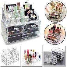 4 выдвижной ящик прозрачный акриловый косметический Органайзер чехол для макияжа коробка для хранения ювелирных изделий Коробка для хранения