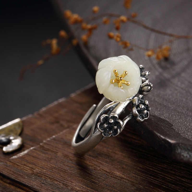 New Arrival bạc S925 tinh khiết bạc retro tự nhiên Hetian jade trắng jade dát hoa mận lady mở ring ring bán buôn