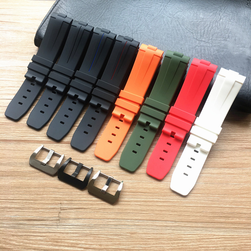 New Style Soft 24mm Curved End Orange Black Green Red White Silicone Rubber Watchband For Panerai Watch Strap <font><b>PAM</b></font> <font><b>Bracelet</b></font> Belt image