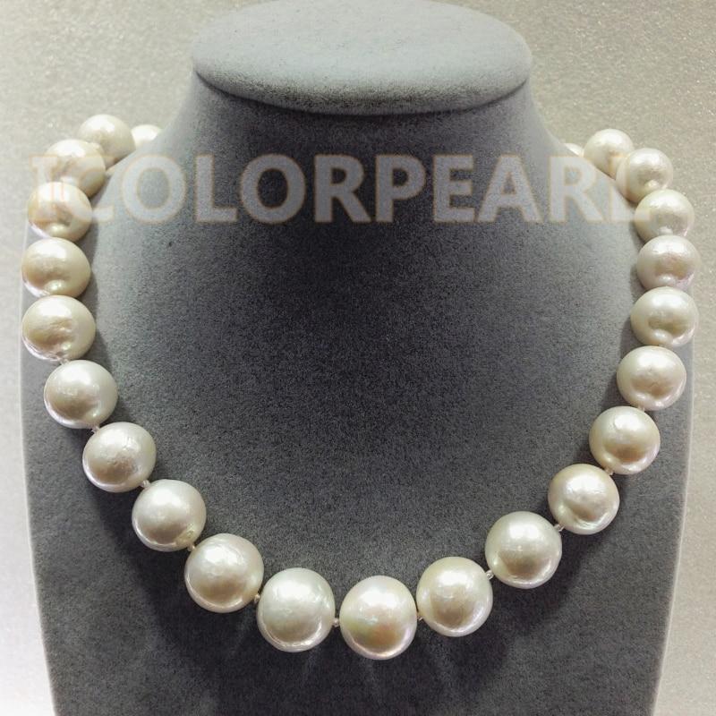 Les meilleurs bijoux pour dames! Plus grand collier de perles d'eau douce naturelles de culture blanche ronde de 12-16mm. - 3