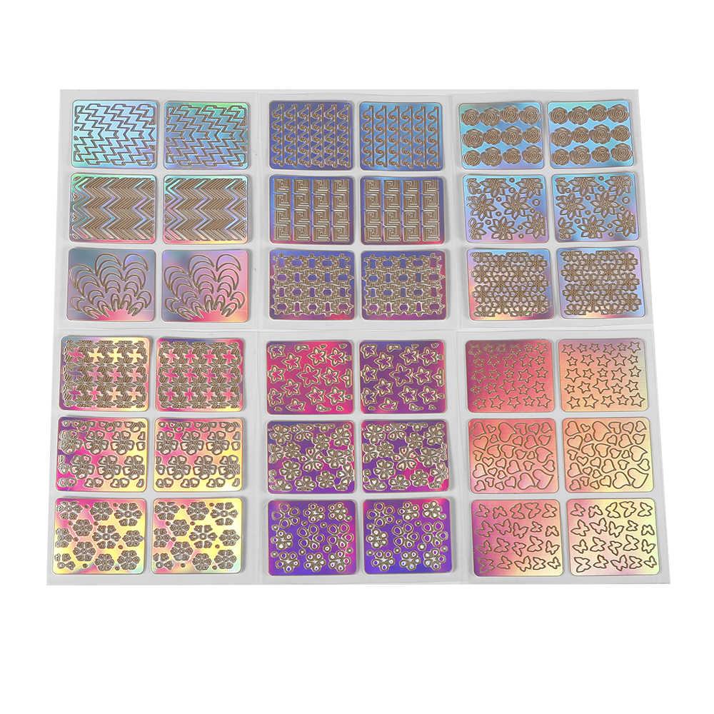 ELECOOL 6 adet Renkli Karışık 3D Tasarım Tırnak Sanat Hollow Çıkartmalar Şablon Ucu Şablon PVC Manikür Çıkartmaları Dekorasyon