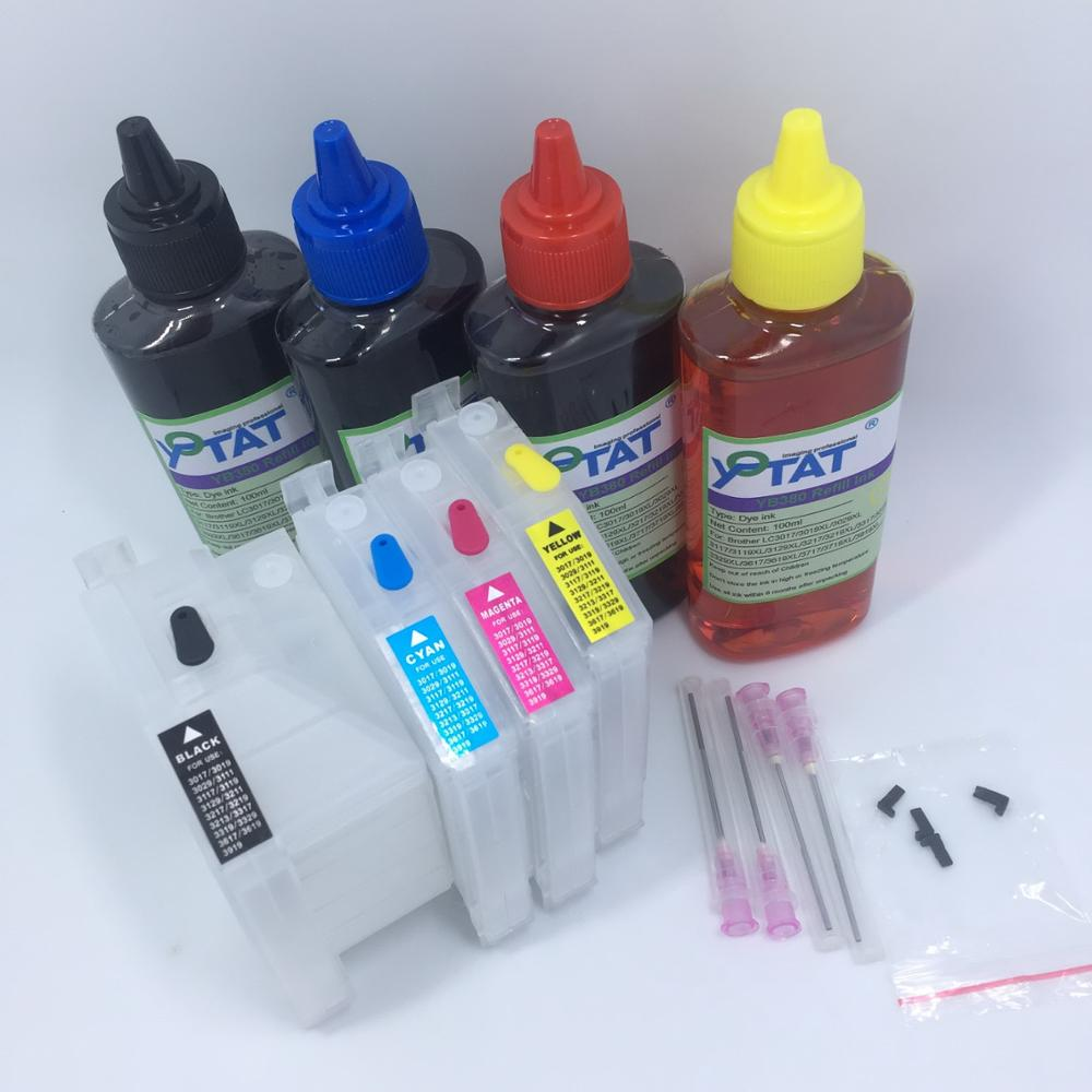 YOTAT 4*100ml Dye ink LC3219 LC3217 Refillable ink cartridge LC3219XL for Brother MFC-J5330DW J5335DW J5730DW J5930DW J6530DW long refill ink cartridge lc3219 xl lc3219xl lc3217 for brother mfc j5330dw j5335dw j5730dw j5930dw j6530dw j6930dw j6935dw