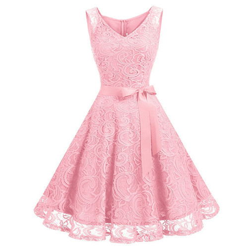 Vintage Floral Lace Pleated Dress Women Sleeveless V-Neck Elegant Party Sexy Dresses Retro 50s Summer Robe Big Swing Dress