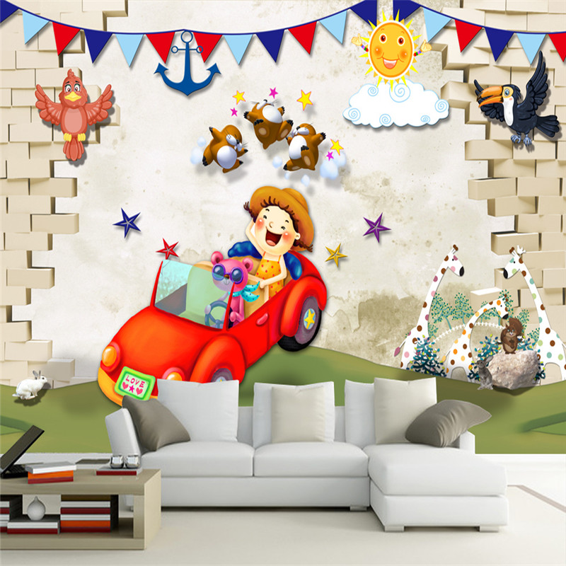 Cartoon Pattern Wallpapers 3D Custom Brick Walls Car Photo Papers Kids Murals for Children's Room Background 3D Walls Home Decor custom large 3d wallpapers cartoon dog cat animals murals kids walls papers for children room living room home decor painting